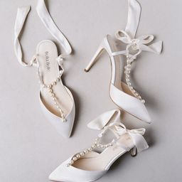 Pearls and Crystal Ivory Bow Wedding Heel | Bella Belle Shoes