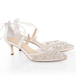 Crystal Embellished Ivory Wedding Kitten Heels | Bella Belle Shoes