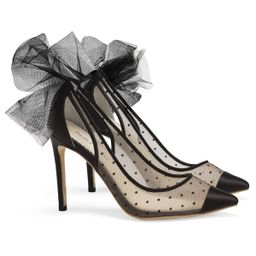 Black Polka Dot Pump with Tulle Bow | Bella Belle Shoes