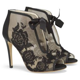 Black Ribbon Tie Lace Embroidered Bootie | Bella Belle Shoes
