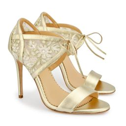 Evening Gold Lace 4 Inch Heel | Bella Belle Shoes