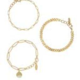 The Power of Three 18k Gold Plated Bracelet Set   Ettika