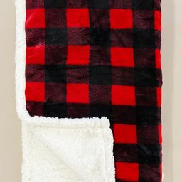 Calling Me Home Red Plaid Sherpa Blanket DOORBUSTER | The Pink Lily Boutique