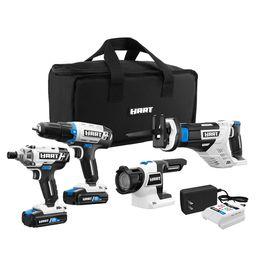 HART 20-Volt Cordless 4-Tool Combo Kit (2) 1.5Ah Lithium-Ion Batteries and 16-inch Storage Bag | Walmart (US)