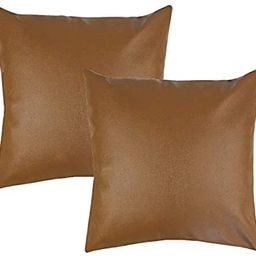"""Woven Nook Decorative Throw Pillow Covers, 100% Polyester Faux Leather, Milo Set, Pack of 2 (18"""" ... 