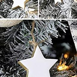 AuldHome Farmhouse Star Ornaments (12-Pack); Wood with White Enamel 2-Inch Star Christmas Decorat... | Amazon (US)