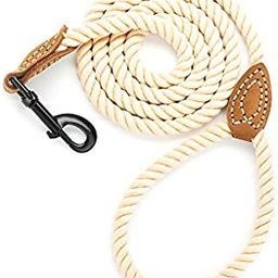 Mile High Life Braided Cotton Rope Leash with Leather Tailor Handle and Heavy Duty Metal Sturdy C... | Amazon (US)