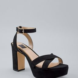Women's Suede Platform Sandals by White House Black Market, Black, Size 5   White House Black Market