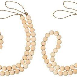 Jovitec 2 Pieces Wood Bead Farmhouse Garland Decoration Natural Rustic Wooden Beads String Prayer... | Amazon (US)