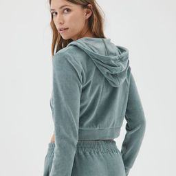 iets frans… Velour Zip-Front Hoodie Sweatshirt   Urban Outfitters (US and RoW)