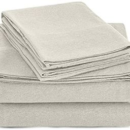 AmazonBasics Heather Cotton Jersey Bed Sheet Set - Full, Oatmeal | Amazon (US)