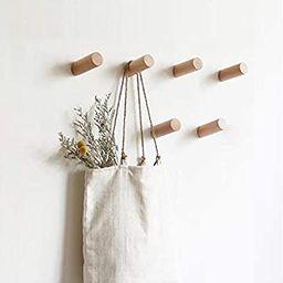 HomeDo Natural Wooden Coat Hooks Wall Mounted Vintage Single Organizer Hangers, Handmade Craft Ha... | Amazon (US)