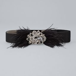 Women's Feather Belt by White House Black Market, Black, Size M   White House Black Market