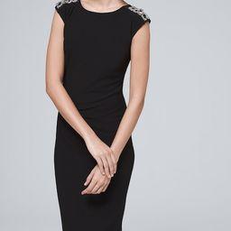 Women's Embellished Jersey Knit Dress by White House Black Market, Black, Size L   White House Black Market