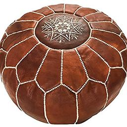 Marrakesh Gallery Moroccan Pouf - Genuine Goatskin Leather - Bohemian Living Room Decor - Hassock... | Amazon (US)