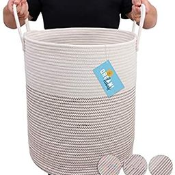 OrganiHaus Cotton Rope Basket in Brown and Off-White | Extra Large Blanket Storage Basket for Liv... | Amazon (US)
