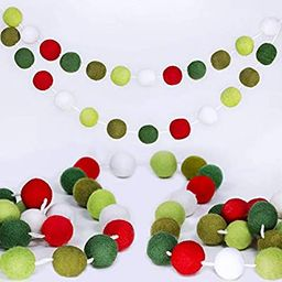 Supla 50 Pcs 8.2' Long Christmas Felt Balls Pom Pom Garland Holiday Felt Ball Garland Strand Red ... | Amazon (US)