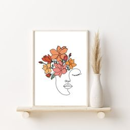 DIGITAL Flowers Woman Print One Line Art One Line Drawing   Etsy   Etsy (US)