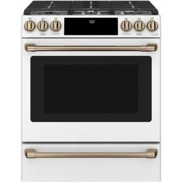 30 in. 5.6 cu. ft. Smart Gas Range with Self-Clean Oven in Matte White, Fingerprint Resistant | The Home Depot