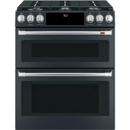 30 in. 7.0 cu. ft. Slide-In Double Oven Dual-Fuel Range with Self-Clean Convection in Matte Black... | The Home Depot
