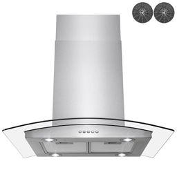 Golden Vantage 30 in. Convertible Kitchen Island Mount Range Hood in Stainless Steel with Tempere... | The Home Depot