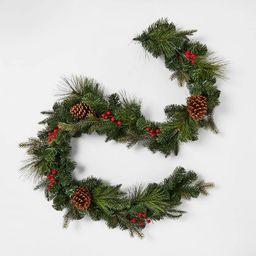 Unlit Red Berry/Pinecones Artificial Mixed Pine Christmas Garland - Wondershop™ | Target