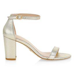 Nearlynude Block-Heel Metallic Leather Sandals   Saks Fifth Avenue