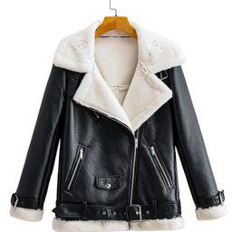 Flannel Lined Zipper PU Moto Jacket   SHEIN