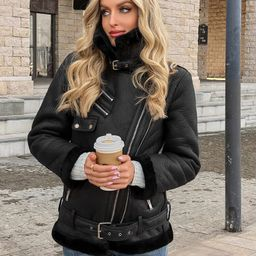 Solid Flannel Lined PU Moto Jacket   SHEIN