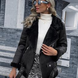 Fleece Lined Buckle Belted PU Moto Jacket   SHEIN