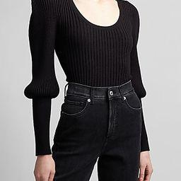 Ribbed Sharp Shoulder Blouson Sleeve Sweater Black Women's XL   Express