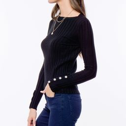 Spicy Mix Women's Pullover Sweaters BLACK - Black Button-Cuff Ribbed Sweater - Women   Zulily