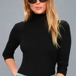 Crawford Black Long Sleeve Mock Neck Bodysuit | Lulus (US)