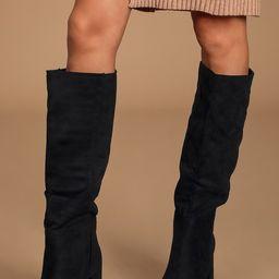 Katari Black Suede Pointed-Toe Knee High Boots | Lulus (US)