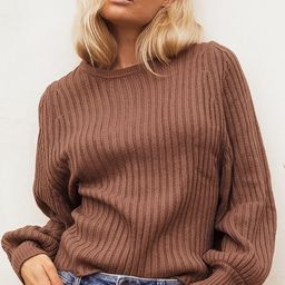 Take the Chill Off Brown Ribbed Knit Balloon Sleeve Sweater | Lulus (US)