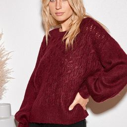 Sepulveda Wine Red Cable Knit Balloon Sleeve Sweater | Lulus (US)