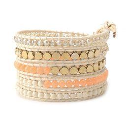 Peach Crystals with Gold Coin Beads on Ivory   Victoria Emerson