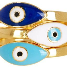 Sterling Forever - Gold Plated 3-Piece Enamel Evil Eye Ring Set for Protection, Strength, and Hea...   Amazon (US)