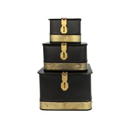 Black & Brass Galvanized Boxes (Set of 3)   McGee & Co.