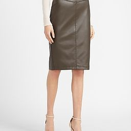 High Waisted Faux Leather Seamed Pencil Skirt Green Women's M | Express