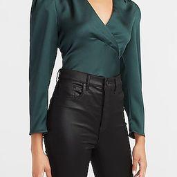 Satin Puff Sleeve V-Neck Top Green Women's XL | Express