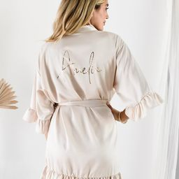 Champagne Robes for Bridesmaid Ruffle Robes Personalized Bridesmaid Robes with Names Satin Bridal... | Etsy (US)