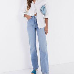 ASOS DESIGN mid rise '90's' straight leg jeans in midwash | ASOS (Global)