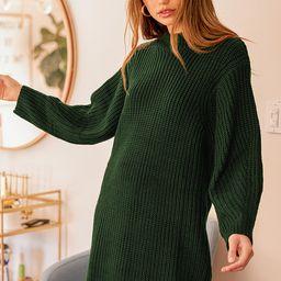 Favorite Weather Dark Green Ribbed Knit Sweater Dress | Lulus (US)