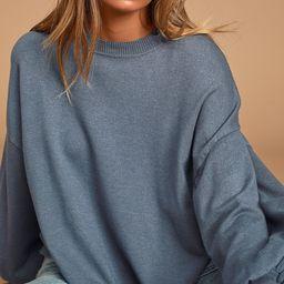 Cozy Comforts Slate Blue Dolman Sleeve Sweater Top | Lulus (US)