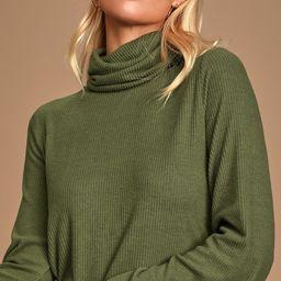 Alvina Olive Green Ribbed Turtleneck Sweater Top | Lulus (US)