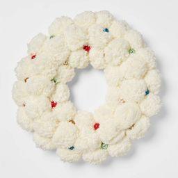 """19"""" Artificial Cream Pom Wreath White - Opalhouse™   Target"""
