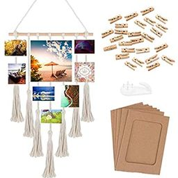 """Photo Hanging Display for Wall Decor 17"""" x 27"""", ZUEXT Handwoven Macrame Bohemian Art Tapestry, Ca...   Amazon (US)"""