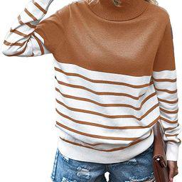 KIRUNDO 2020 Women's Turtleneck Knitted Sweater Long Sleeves Stripe Color Block Patchwork Loose...   Amazon (US)