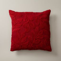 """OUI EMBROIDERED MISTLETOE HOLIDAY RED PILLOW COVER 18"""" X 18"""" 